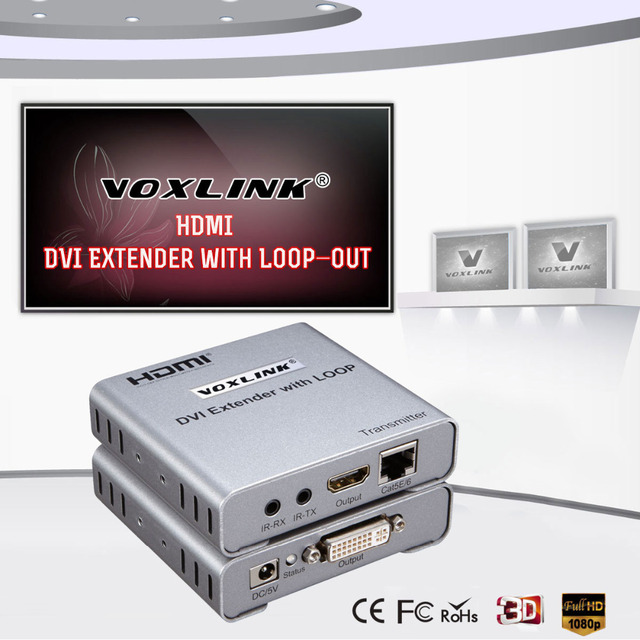 VOXLINK New DVI Extender over CAT5e/6 Ethernet Converter 1080P up to 50m with HDMI Loop-out Function Support 3D EDID management