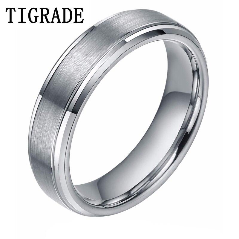 6mm masculino anel de tungstênio carboneto preto/prata escovado comfort engagement anéis alta polido bordas casamento banda promessa jóias