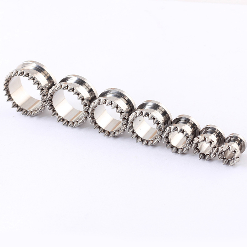 Alisouy Pair Screw Fit Stainless Steel Flesh Ear Tunnels Plugs Gauges Earrings - Spikes body piercing jewelry
