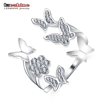 LZESHINE Butterfly Ring Silver Color Opening Rings for Women with AAA Cubic Zirconia  Wedding Jewelry Gifts CRI0398-B mariposa en plata anillo