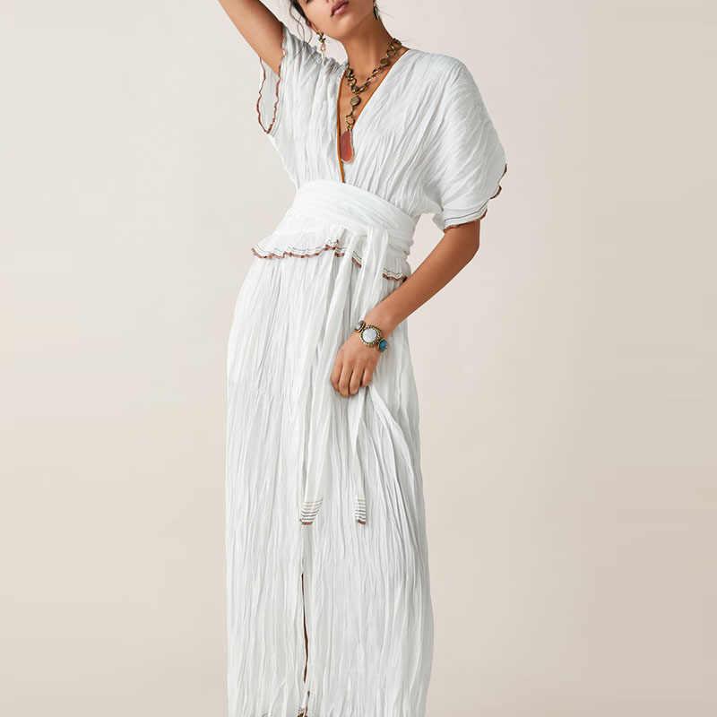 0f953a921b92e JuneLove Women Summer Short Batwing Sleeve Dress Vintage Sashes Female  Elastic Long Dress Casual Patchwork Lady Loose Dress