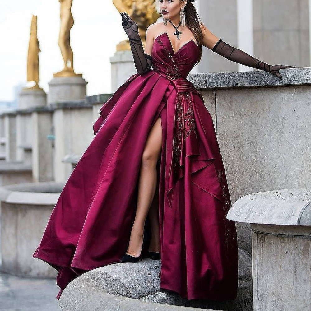 Burgundy 2019   Prom     Dresses   Ball Gown V-neck Beaded Slit Sexy Women Party Maxys Long   Prom   Gown Evening   Dresses   Robe De Soiree