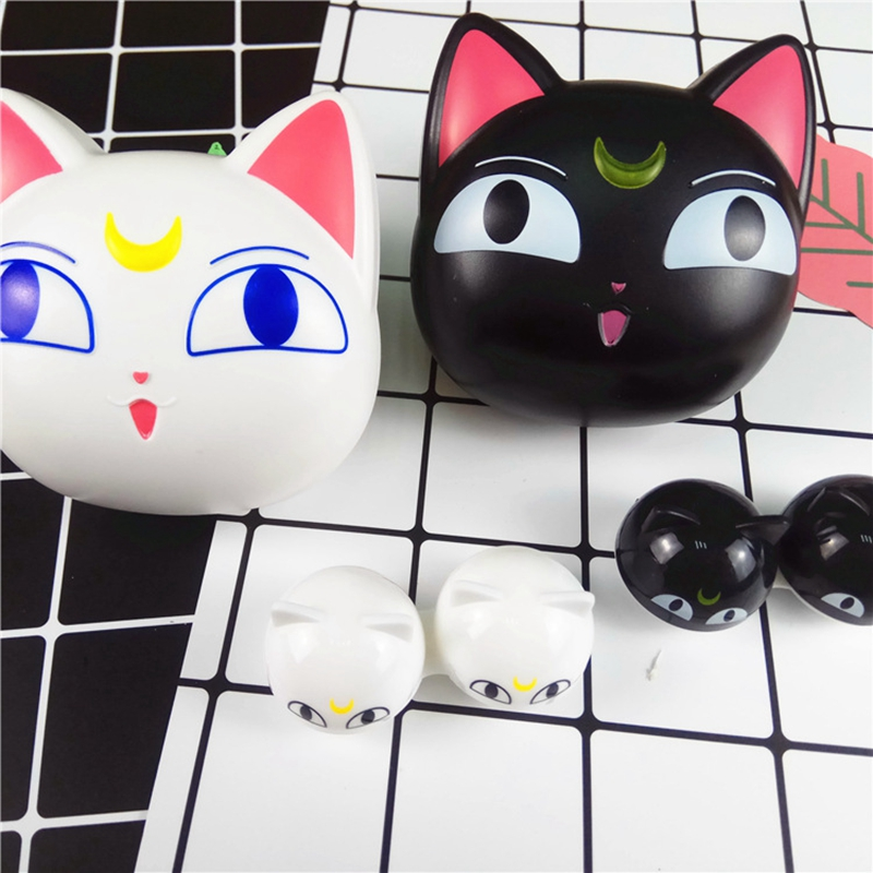 2019 New Style Contact Lenses Case New Design Cute Cartoon Moon Cat With Mirror Contact Lens Case For Man And Women Portable Holder L8016 Long Performance Life Men's Glasses Eyewear Accessories