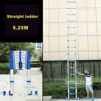 5.25 m Escada Reta Escada de Alumínio Liga Engrosse Single-sided JJS511 15-Passo Escada Engenharia Escada de Extensão Doméstico Portátil