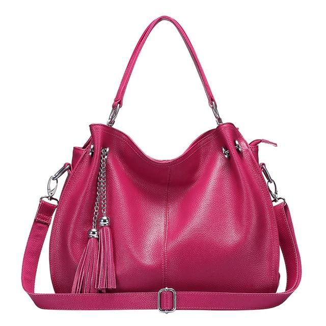 2017 Genuine leather women handbags fashion solid color single shoulder bag casual crossbody tassel bag trend messenger bag NB06