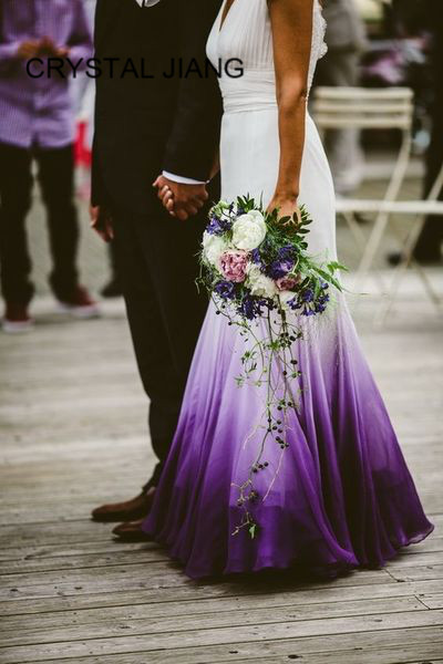 Robe De Mariee 2019 Sexy Mermaid Gradient Purple Chiffon Wedding Dress Custom Made V Neck Sleeveless Open Back Boho Wedding Gown