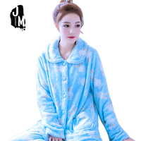 Frau Pyjama Sets Winter Homewear Anzug Lange frauen Cartoon Warme Schlafanzüge Für frauen Verdicken Niedlich Korallen Fleece Pyjama Set XXL