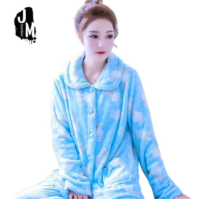 Woman Pajama Sets Winter Homewear Suit Long Womens Cartoon Warm Pyjamas For women Thicken Cute Coral Fleece Set XXL