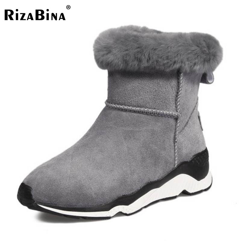 RizaBina Cold Winter Snow Shoes Women Real Leather Warm Fur Inside Ankle Boots Women Thick Platform Warm Winter Botas Size 34-39 kemekiss women warm plush warm snow boots for women thick platform ankle botas female thick fur winter footwear size 36 40