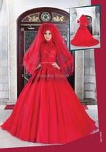High Neck Langen Ärmeln Türkische Abendkleider Islamischen Party Kleid Red Tüll Muslimischen Abendkleid robe de soiree