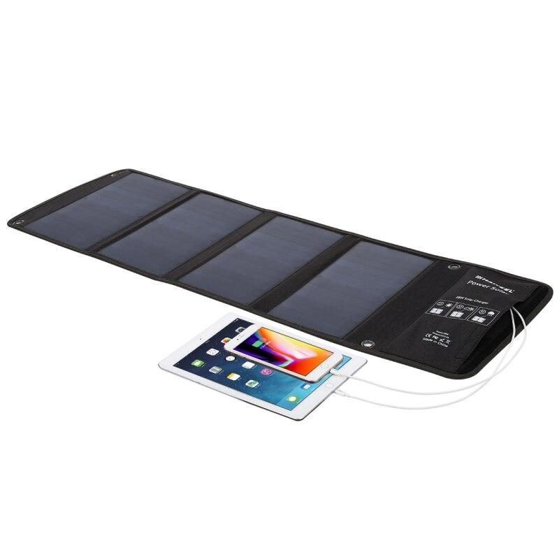 HAWEEL 4 panneau solaire 28 W chargeur solaire pliable extérieur secours Portable alimentation de secours 5 V/2.9A Max 2 Ports USB pour téléphone - 2