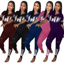 b4c63cc0bc4 2018 Plus Size Two Piece Set Women Sexy Short Sleeve Letter Print  Sweatsuits Top+Stretch Pants Sweat Suits Casual Tracksuit