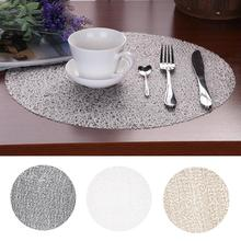 38CM Round Transparent Crystal Childrens Table Mats Non-Slip Plastic Placemat Circle Coasters