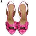 Mujeres Sandalias de correa de Tobillo de cuero de tacón alto con sandalias de gladiador zapatos de punta abierta de cuero damas Roma zapatos Nuevo Tamaño verano 4-12