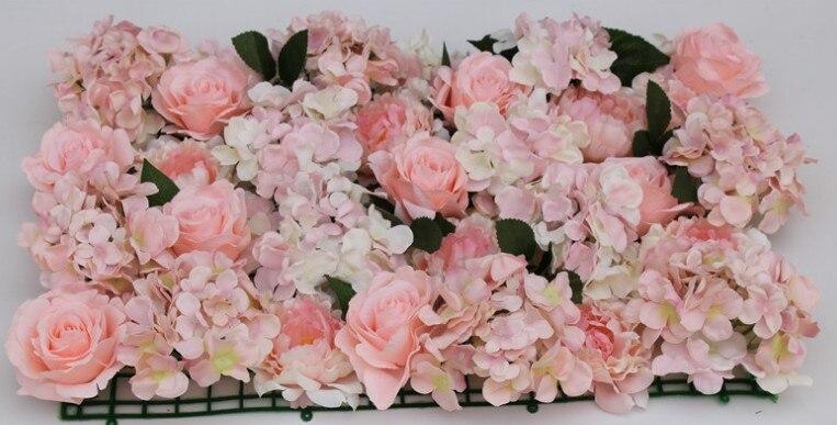 60x40 cm belle grande taille en plastique rose fleur rangée fleurs artificielles mat mariage fleur fournitures fleur décoration murale