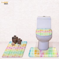 HUGSIDEA 3Pcs/Set Toilet Seat Cover Pedestal Rug Bathroom Mats Set For Toilet Household Cool 3D Plaid Toilet Lid Bowl Cover Sets