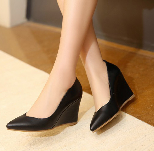 2016 Elegant Office Work Business Black Wedges Pumps For Women Pointy Toe High Heels Vintage Shoes In S From On Aliexpress