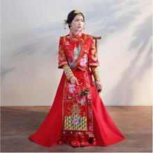Chinese Red clothing show autumn bride wedding gown dress female Fashion pattern Phoenix butterfly flower Suzhou embroidery spring and summer clothing xiu he chinese red wedding dress bride cheongsam phoenix gown chinese fashion show kimono outfit