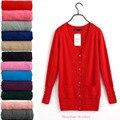 2019 Осенняя мода весна ZA женский свитер с v-образным вырезом и пуговицами Вязанный свитер женский кардиган ярких цветов XL вязаный свитер - фото