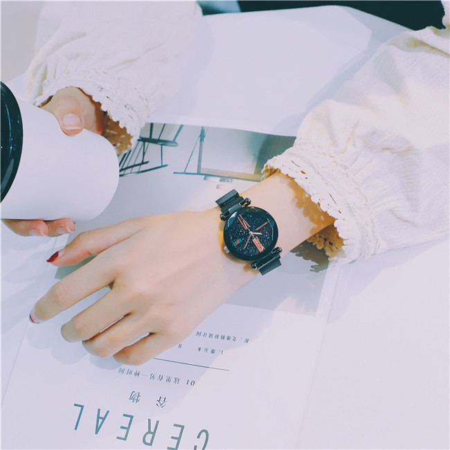 Luxury Rose Gold Women Watches Minimalism Starry sky Magnet Buckle Fashion Casual Female Wristwatch Waterproof Roman Numeral 19