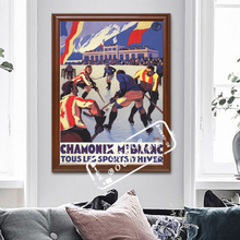Vintage deportes de esquí póster de viaje Chamonix Hockey pinturas clásicas de lona carteles de pared pegatinas decoración del hogar regalo