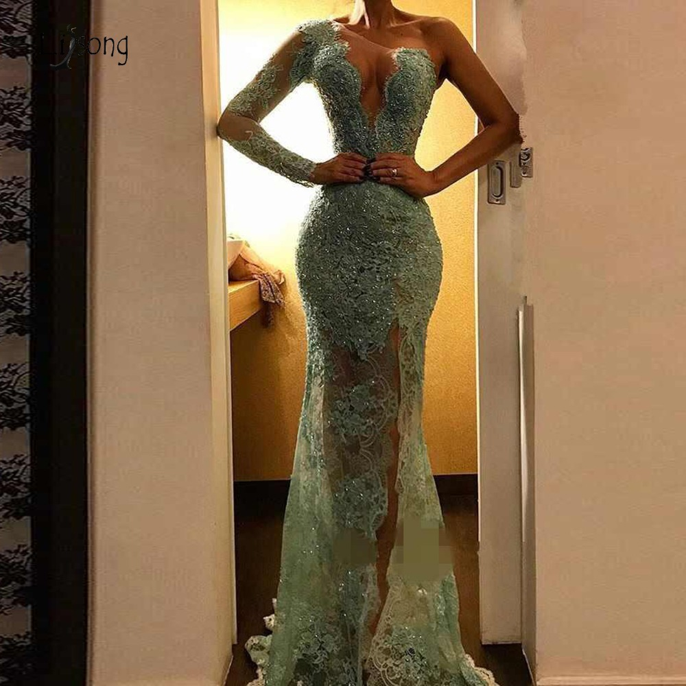 Sexy Illusion Lace Mermaid Prom Dresses Mint Sparkle Sequined Beaded Long Prom Gowns High Side Split One Shoulder Party Dresses