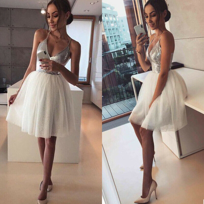 2020 Women's Sequin Deep V neck Bridesmaids Dress Evening Party Sequins Tulle Ball Gown Fashion Female Sleevelss Dress Clothes