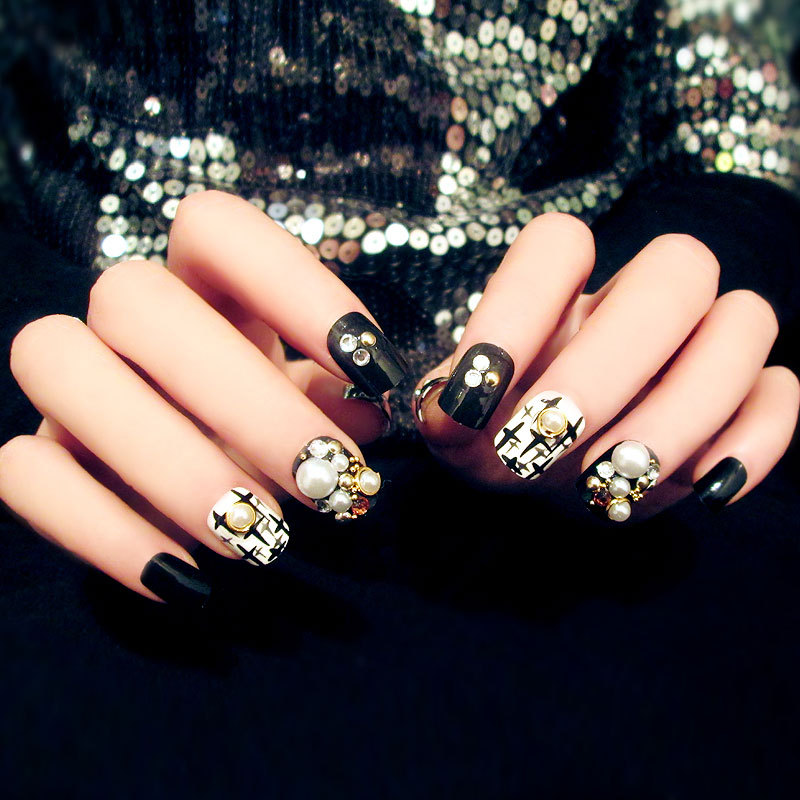 Hot Sale Fall Design Full Cover False Nail Art Tips Gel Nails With