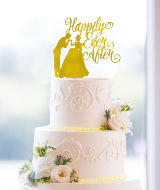 Happily Ever After Mirror Gold Wedding Cake Topper Personalized