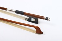 One Violin Bow 4/4 brazilwood Natural HorseTail Ebony frog Balanced straight Violin parts accessories