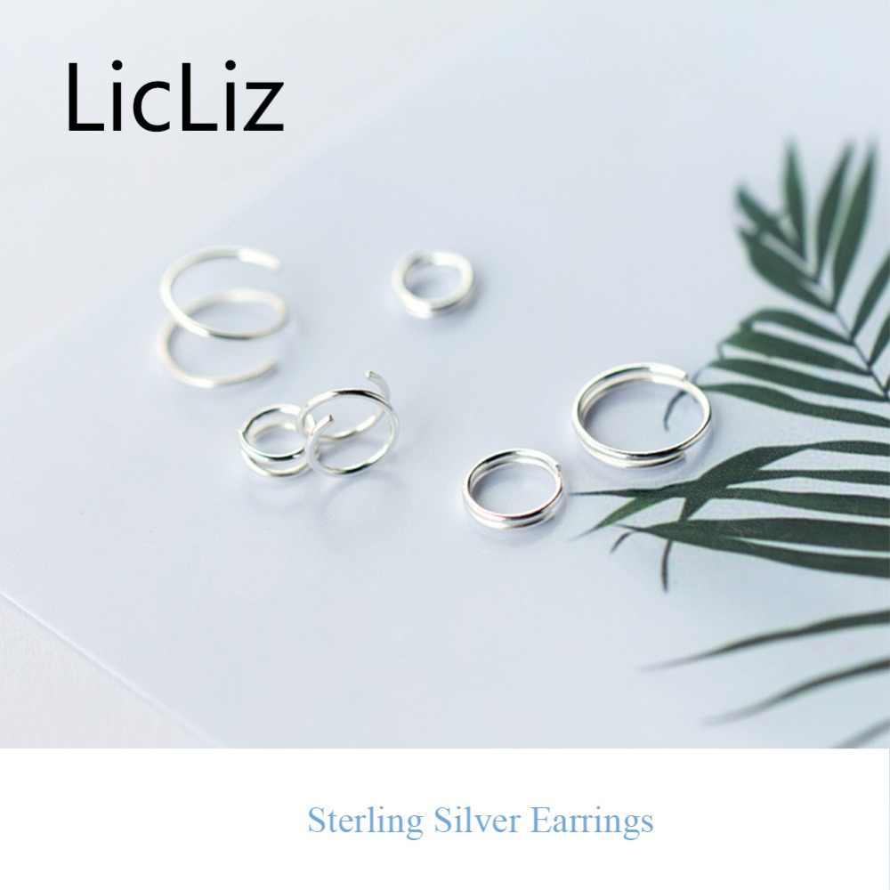 LicLiz 2019 Новинка 925 стерлингового серебра Весенняя форма серьги-кольца для женщин весенние открытые Серьги витые серьги-гвоздики LE0488