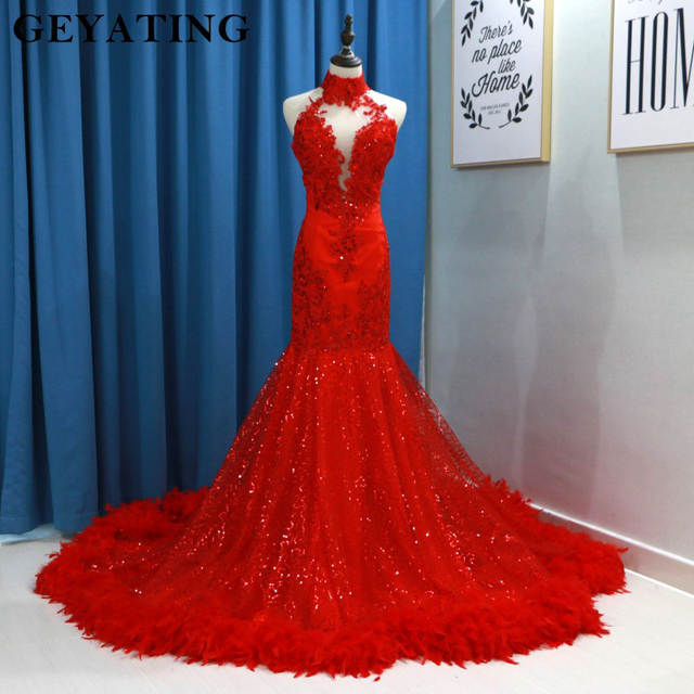 4a7d9b46ce Online Shop Red Sequins Mermaid Prom Dresses Feather Long Train High Neck  Backless Black Girls African Women Evening Party Gowns Graduation
