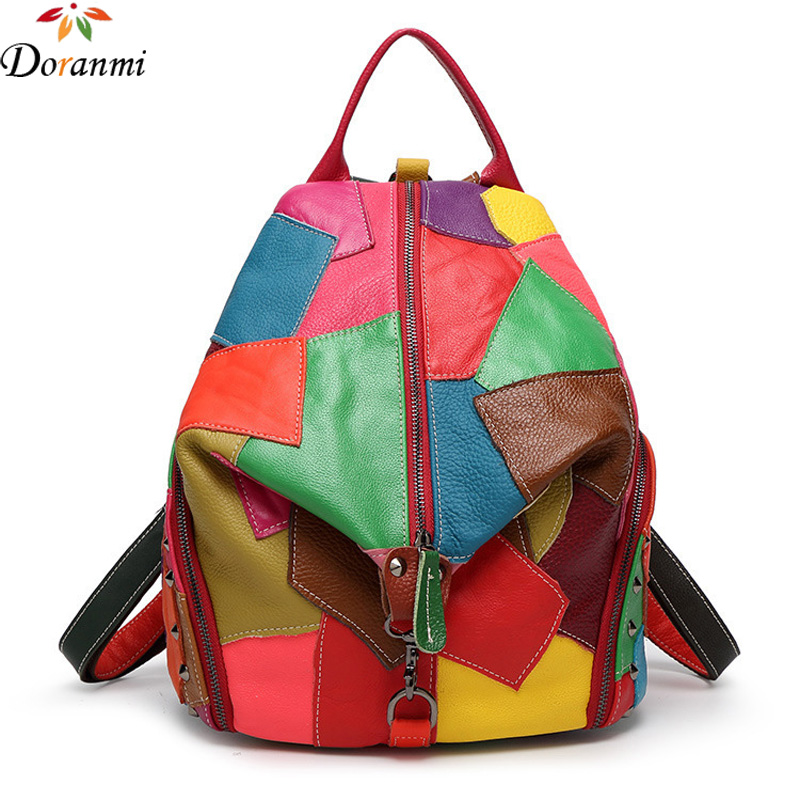 DORANMI Colorful Patchwork Design Backpacks 2017 Luxury Brand Designer Women Schoolbag Genuine Leather Bags High Quality