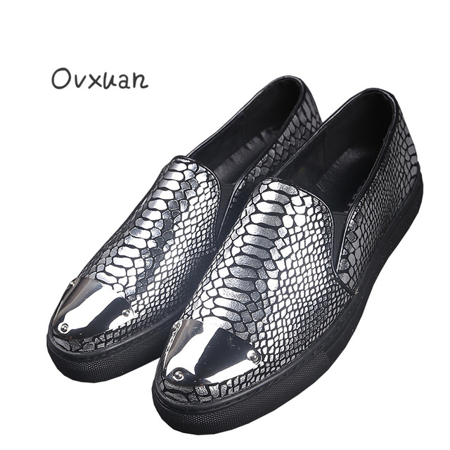 Ovxuan Handmade Loafers Men Snake Skin Print Genuine Leather Metal Toe  Luxury Brand Men Loafers Party Wedding Men s Dress Shoes 8a95567ac5c7