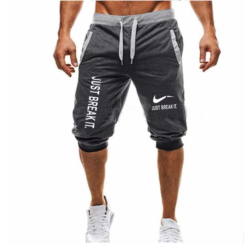 2018 Summer New Mens shorts JUST BREAK IT Printed Casual Fashion Jogger Knee Length Sweatpants Man Fitness Hip hop shorts