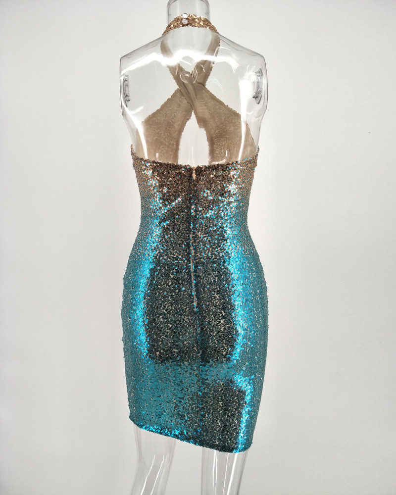 Halter Sparkly Sequin Dress Women Strapless Sleeveless Hollow out ...