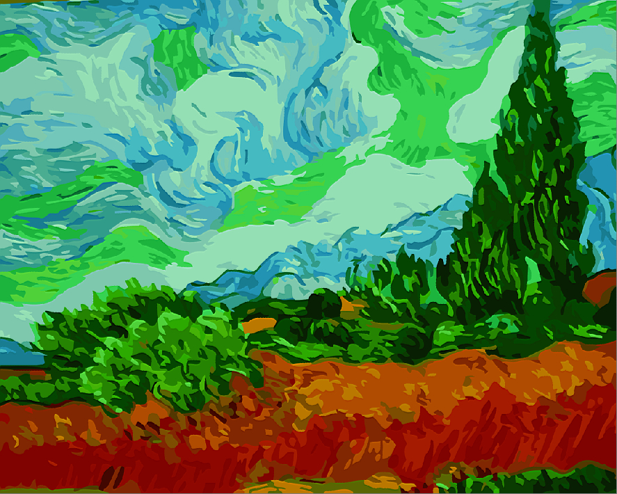 Best Pictures DIY Digital Oil Painting Paint By Numbers Christmas Birthday Unique Gift Van gogh cypress in the wheat field G415
