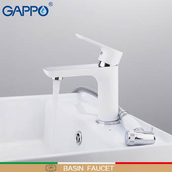 GAPPO Basin Faucets white and chrome waterfall tap basin mixer with spray bathroom sink faucet brass water tap bath faucets gappo white basin faucet bathroom faucet mixer sink faucets chrome brass water faucets bath basin mixer tap water torneira