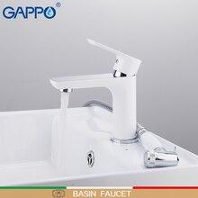 GAPPO havza musluk beyaz ve krom şelale musluk batarya ile sprey banyo lavabo musluğu pirinç musluk banyo armatürleri