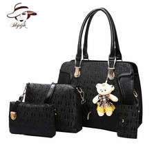 Luxury Brand Women Bag 4PCS Set Bear Fashion Women's PU Leather Composite Bag Ladies Handbag + Message Bag+Wallet + Card holder