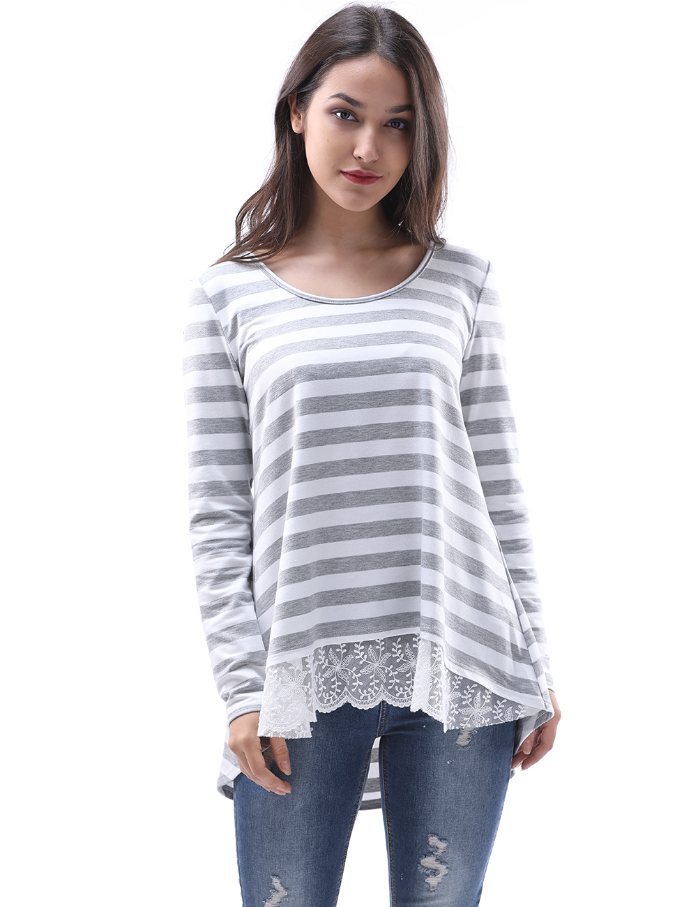 Womens Tops And Blouses 2018 Fashion Spring Lace Stripe Shirt Long Sleeve Female