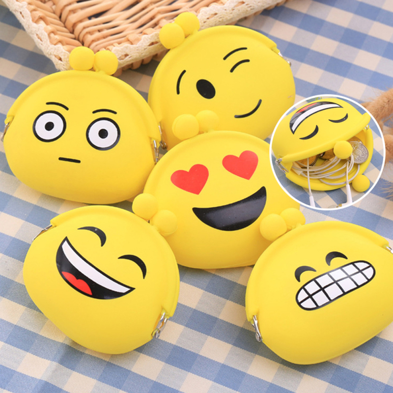 2017 Cute Style Novelty Emoji Smile Zipper Silicone Coin Purse Kawaii Children Bag Women Wallets Mini Change Pouch Kid Gift