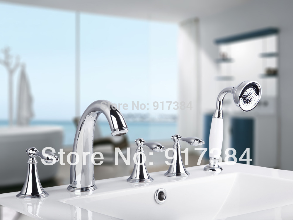 High Quality Deck Mounted  Waterfall 5Pcs Brass Body  Bathroom Bathtub Sink Mixer Tap Chrome Finish Faucet Set LY-30HH8 deck mounted high quality brass kitchen tap faucet