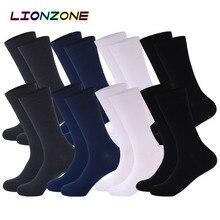 LIONZONE 8 Paare/los Reine Farbe Bambus Socken für Männer Atmungsaktiv Warme Keine Geruch Mann Marke Gentleman Business Kleid Socken Lange