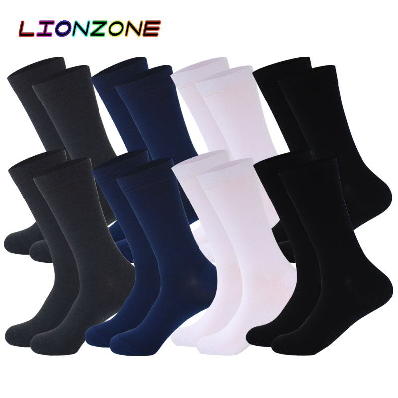 LIONZONE 8Pairs/Lot Pure Color Bamboo Socks For Men Breatheable Warm No Smell Man Brand Gentleman Business Dress Socks Long