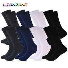 Lionzone 8 ペア/ロット純粋な色の竹の靴下breatheable暖かい無臭男ブランド紳士ビジネスドレス靴下ロング