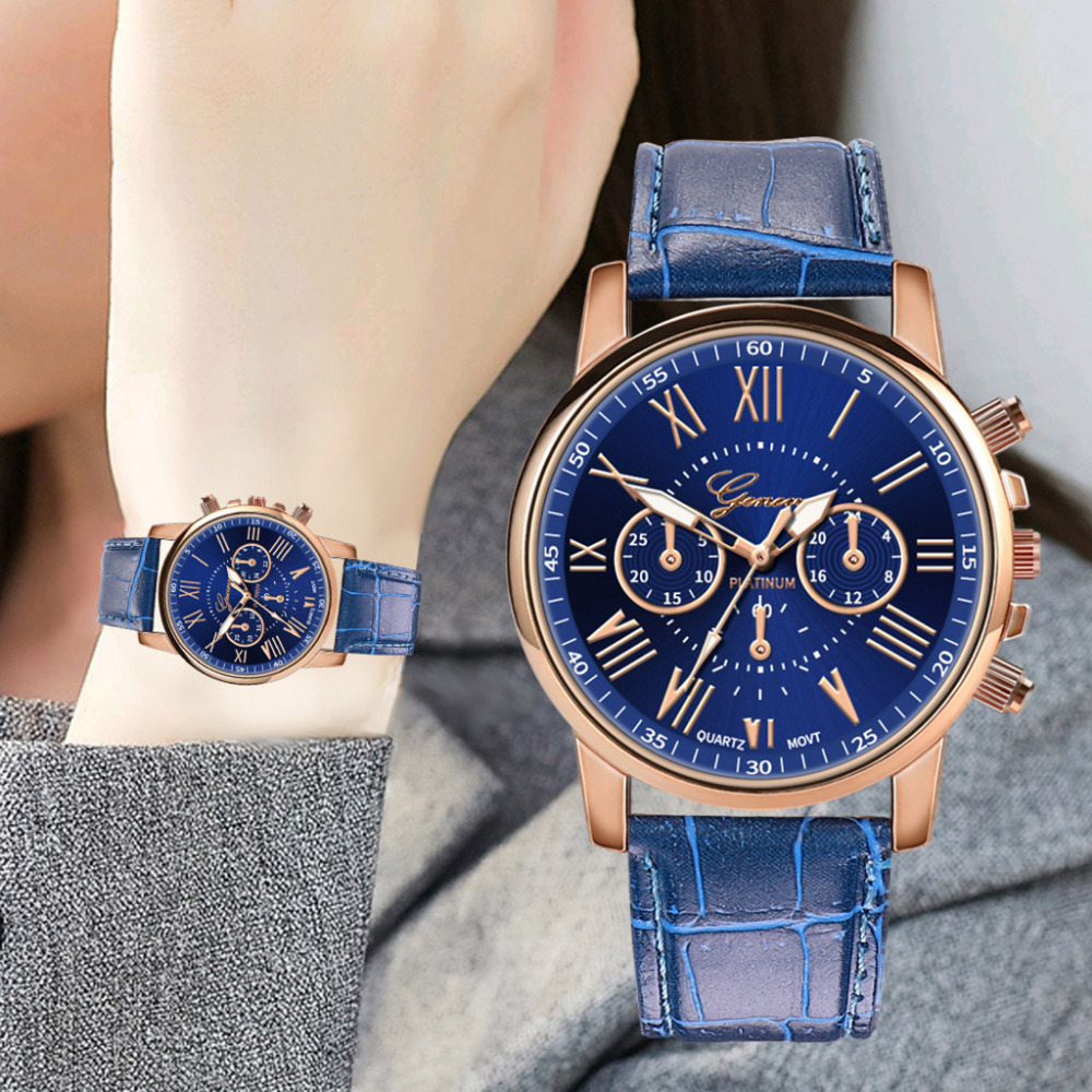Fashion Casual Geneva Ladies Watch Roman Numerals Leather Women Watches Creative Gift Clock Quartz Wrist Watch Zegarek Damski #W
