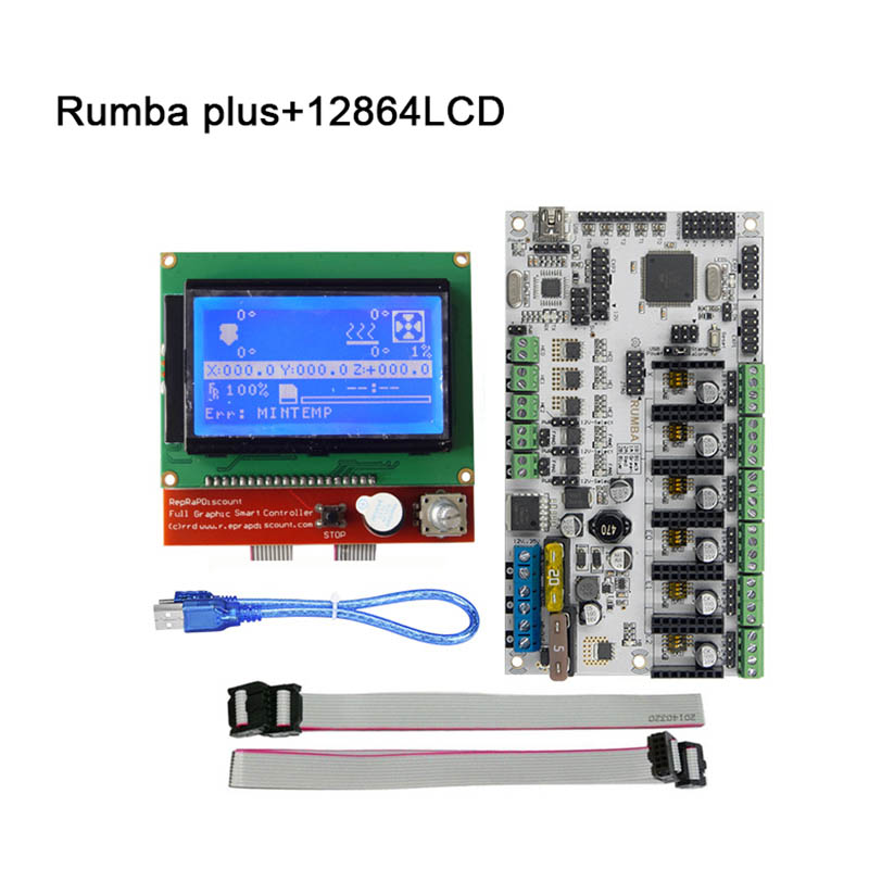 Rumba Plus 3D Printer Start Kits Mother Board + 12864 LCD Display Screen with Cables Part Kit XXM8