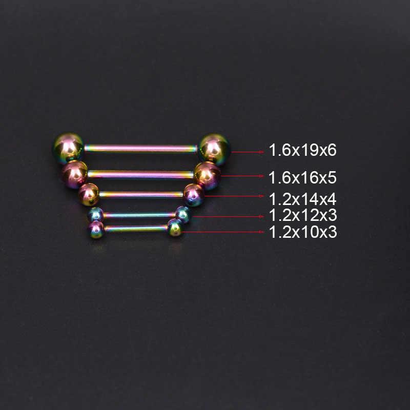 2 Buah Tindik Lidah Berlapis Titanium Tindik Lidah Cincin Bar Girls 14G Tindik Lidah Industri Barbel Kualitas Tubuh Cincin