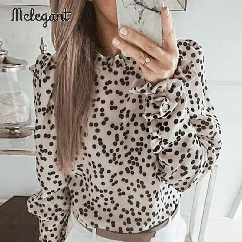 Melegant Long Sleeve Elegant Retro Turtle Women Blouse Shirts Ruffle Polka Dot Female Blouses Puff Winter 2019 Blusa Mujer